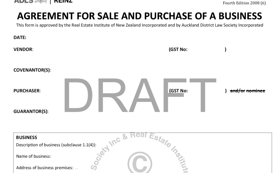 AGREEMENT FOR SALE AND PURCHASE OF A BUSINESS